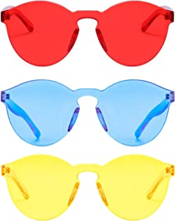 One Piece Rimless Sunglasses Transparent Candy Color Tinted Eyewear