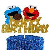 Sesame Elmo Happy Birthday Cake Topper Cookie Monster Cake Topper Sesame Street Party Decoration Supplies for Kids Birthday Sesame Street Theme Party Glitter Felt Sesame Cake Topper