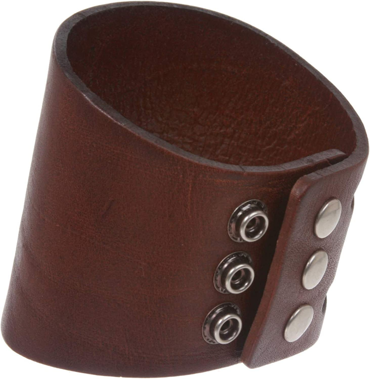 Genuine Leather Wristband with Snap Closure in Black with Red Leather Covered Buttons