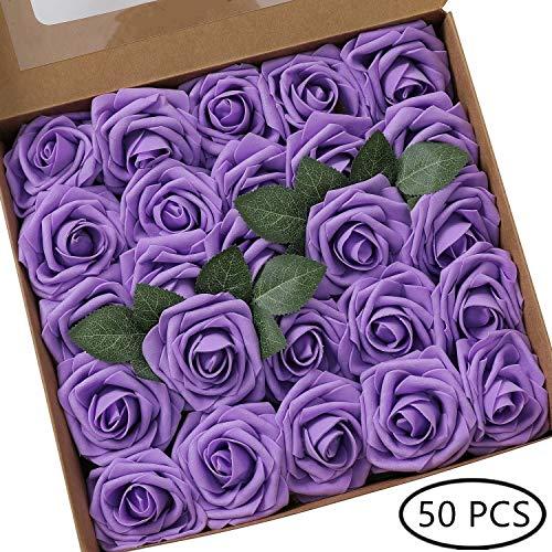 DQTYE 8cm 50pcs Espuma de PE Cabezas de rosa Flores artificiales Real Looking DIY para Ramos de novia Centros de mesa con caja - púrpura