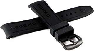 Swiss Legend 24MM Black Silicone Band Strap & Matte Black Stainless Buckle fits 46mm Avalanche Watch