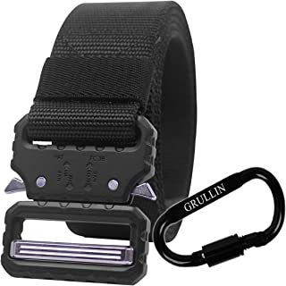 GRULLIN Tactical Military Heavy Duty Quick-Release Belt, 1.25 inch Nylon Web Metal Buckle Molle EDC BDU CQB Waist Belt for Men Women, Aluminum Carabiner Clip Huting Fishing Riggers Belt