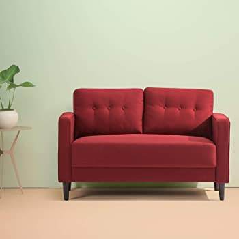 Zinus Mikhail Mid-Century Loveseat Sofa / Ruby Red Sofa Couch / Button Tufted Cushions / Easy, Tool-Free Assembly