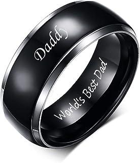 VNOX Titanium Ring Daddy World's Best Dad محفور عليه خواتم زفاف مخصصة هدية عيد ميلاد للرجال، مقاس 6-13