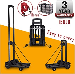 KELIXU Folding Hand Cart Hand Truck,75 Kg/150 lbs Heavy Duty Solid Construction Utility Cart Compact, Lightweight Utility Moving Cart with 4 wheels for Travel, Luggage, Moving,Auto and Office Use