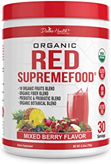 Divine Health Organic Red Supremefood - 10 Organic Fruits + Probiotics, Non-GMO, Enzymes, Herbs, Fiber & Antioxidant Rich - 180g - Berry Flavored Blend (30 Day Supply)