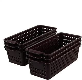 Morcte Long Plastic Supply Basket, Classroom & Office Baskets, Pack of 6, Brown