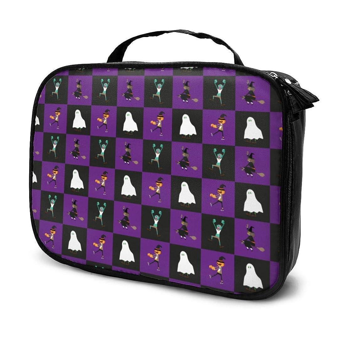 条約デジタル発症収納袋ハッピーハロウィンハッピーパーティー化粧品袋耐摩耗性軽量ポータブル高品質大容量旅行ポーチバスルームポーチ旅行小物整理約8×25×19cm