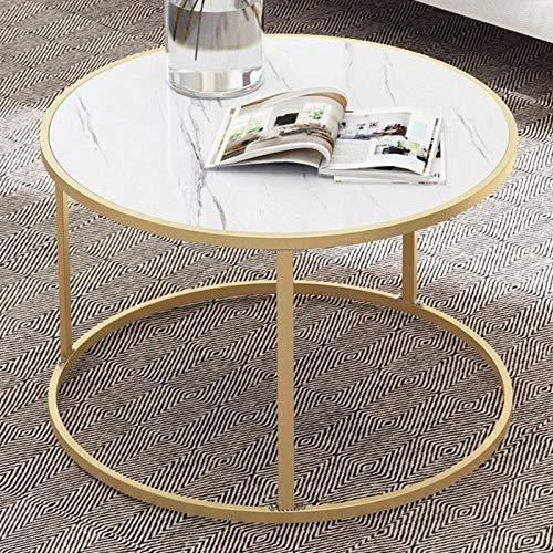 N-B Mesa de café revistero de madera redonda de mármol pequeña mesa móvil dormitorio sala de estar muebles oficina mesa de café