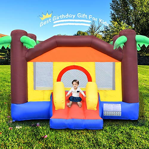 OTTARO Bounce House Inflatable Bouncy House for Kids with Slide Outdoor Indoor Durable Sewn Backyard Bouncy Castle Including Ball Pit Carrying Bag Repair Kit Stakes Without Blower