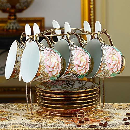 Einfaches europäisches Kaffeetassenset, kreatives vierteiliges Set, sechsteiliges Set, Kaffeetasse aus Bone China, Untertasse, Löffel, Kaffeetassenset aus Keramik, fünfzehn Set, sechzehn Set Kaffee