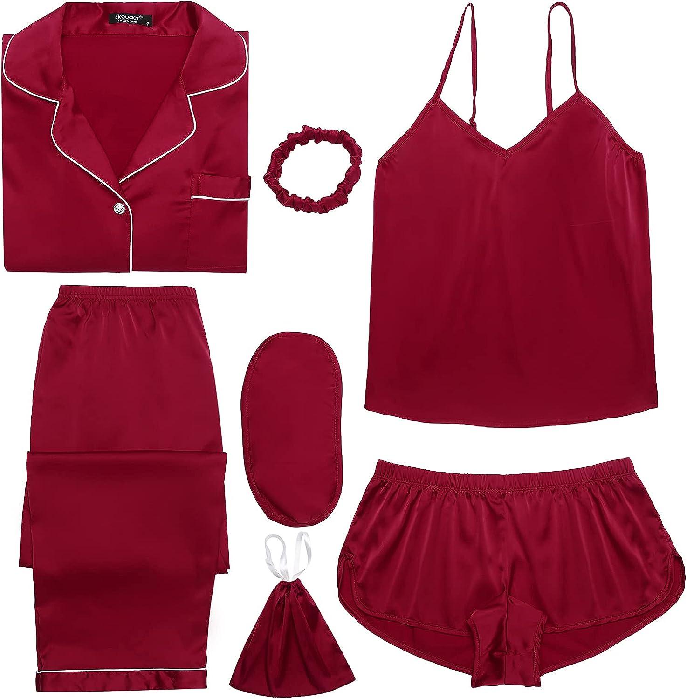 Ekouaer Silk Pajamas Gift Set Women 7pcs Satin Sleepwear Sexy Camisole Shorts Lingerie/Button Down Long Sleeve Pjs
