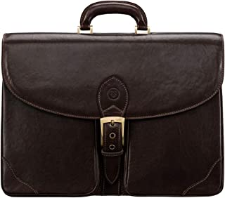 Maxwell Scott Men's Timeless Leather Business Case - Tomacelli Brown