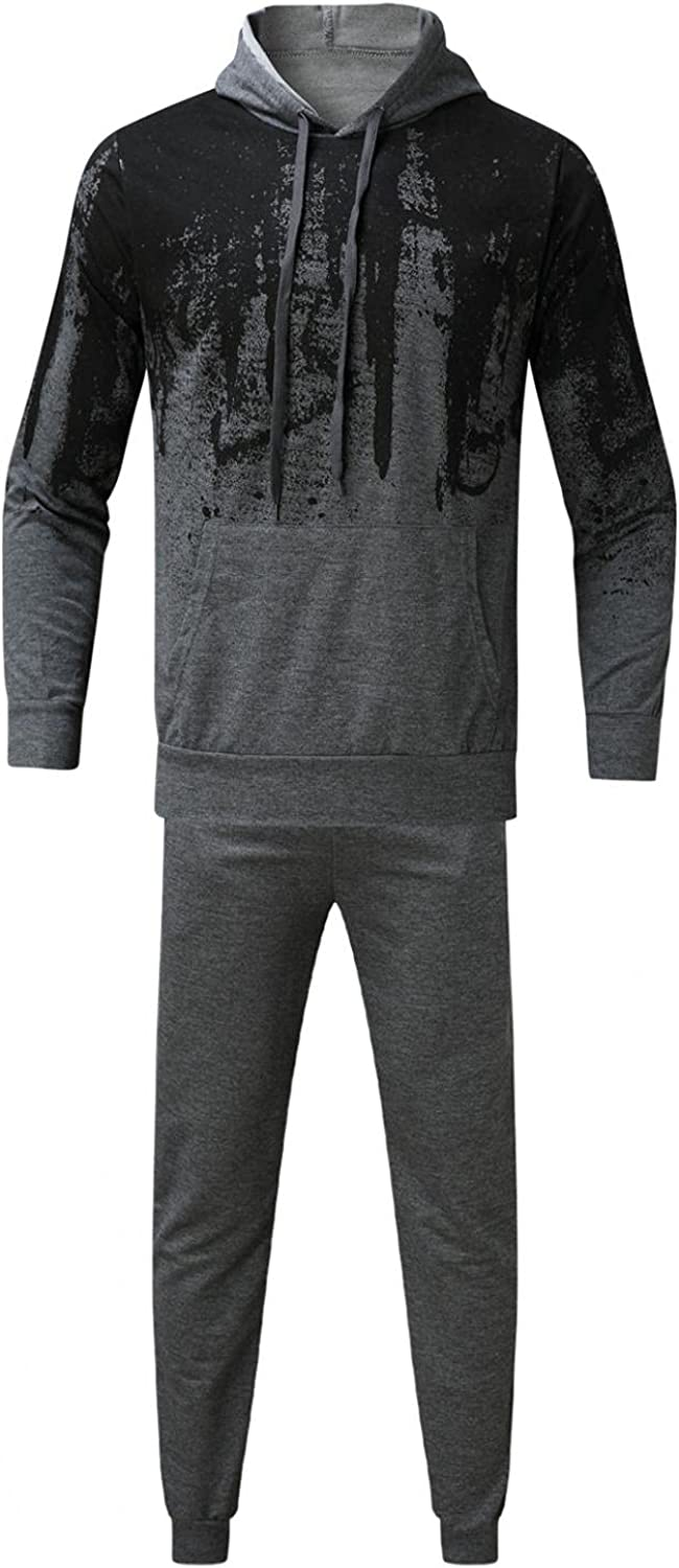 JSPOYOU Men's 2 Pieces Tracksuits Outfit Long Sleeve Tie Dye Hooded Sweatsuits Lightweight Casual Running Jogging Suits Set