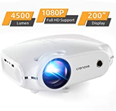 "Crenova Mini Projector,1080P Full HD Supported Portable Phone Projector,4500 Lux Movie Projector for Home Theater, Outdoor HDMI Projector with Max 200"" Projection Size, Compatible with iPhone, iOS"