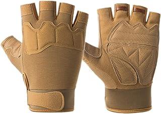 ABOOFAN 1 Pair Nonskid Half Finger Gloves Cycling Gloves Fitness Gym Road Bike Gloves for Men (Paratrooper, Brown)