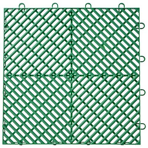Happybuy Drainage Tiles Interlocking 50 PCS Green, Plastic Tiles 12x12x0.5 Inches, Deck Tiles Outdoor Floor Tiles, Outdoor Interlocking Tiles, Deck Flooring for Pool Shower Bathroom Deck Patio Garage