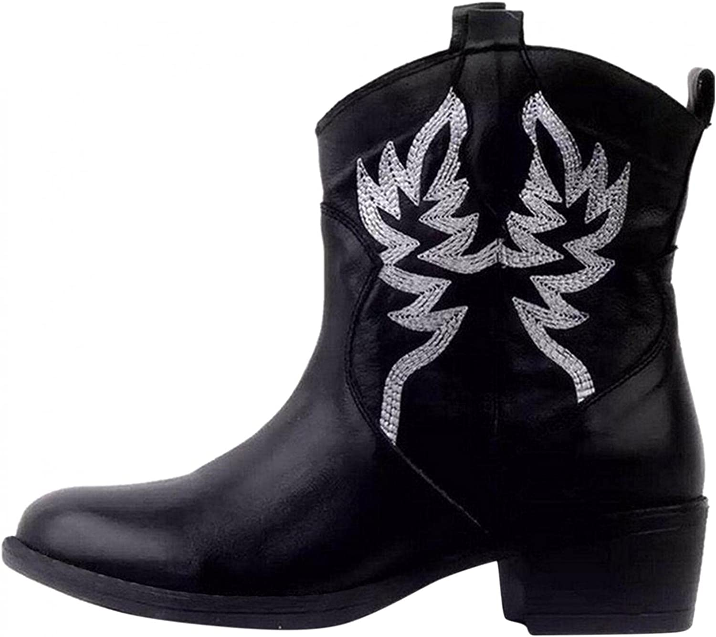 Zieglen Boots for Women, Vintage Pattern Booties Cowboy Boots for Women Winter Platform Boots Combat Boots Womens Booties