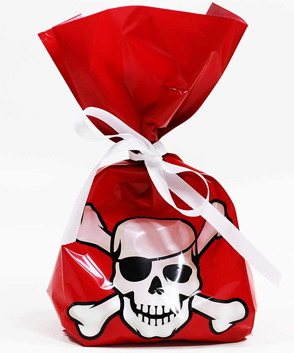 Pirates Cellophane Treat Party Favor Bags with Grosgrain Ribbon Ties. Pack of 12 Large Goodie Gift Bags for Kids, Boys and Girls Birthday Parties & Celebrations. Red, Black, White