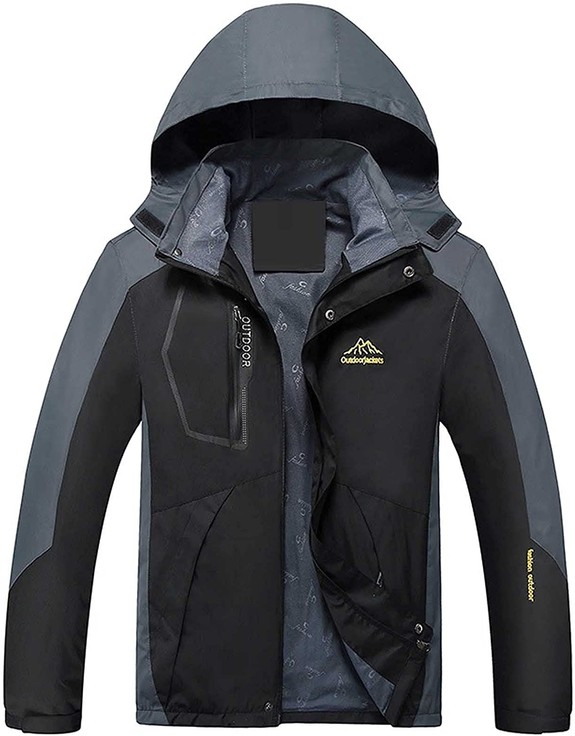Jacket for Men Thin Windproof Coat Rain Jacket Fall Hooded Outwear Lightweight Outdoor Coat for Hiking Travel