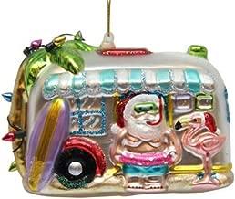 December Diamonds Blown Glass Ornament - Camper in Tropical Theme
