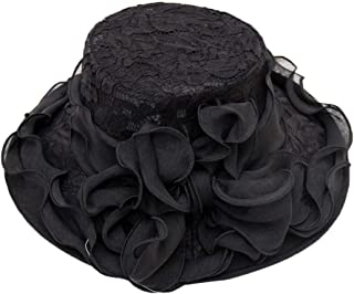 FarJing Womens Church Wide Brim Tea Party Wedding Hat Fancy Derby Fascinator Cap Sun Protection Visor