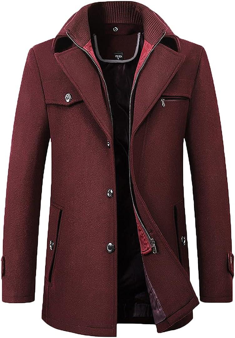 Winter Men Double Collar Wool Blend Coat Long Woolen Coat Business Solid Wool Overcoat