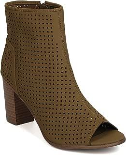 Women Nubuck Peep Toe Perforated Chunky Heel Bootie GJ77