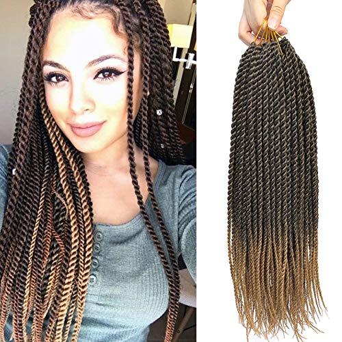 "Befunny Crochet Braids Senegalese Twist Crochet Hair 8Packs 18 Inch Ombre Black To Honey Blonde Small Micro Ez Prelooped Crochet Twist Mambo Twists Crotchet Braiding Hair Itch Free(18"",T1B/27#)"