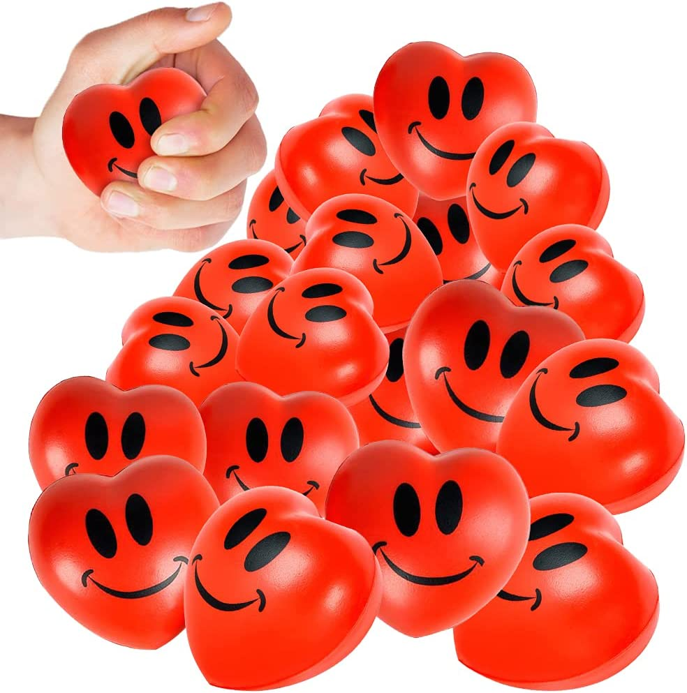 ArtCreativity Smile Face Squeeze Hearts, Set of 12, Stress Relief Toys for Kids, High-Quality Slow Rise Foam, Bright Red Color, Cute Valentine's Day Gifts, Goodie Bag Fillers For Children