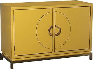 DRW Aparador de 2 Puertas de Madera de álamo y Patas metálicas en Amarillo y Dorado 120x50x80cm Alt. Patas 75cm
