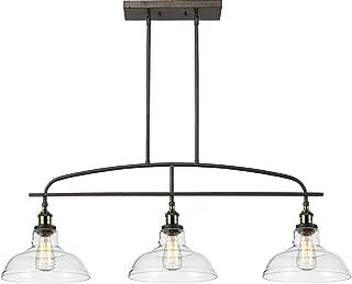 CLAXY Ecopower Kitchen Linear Island Pendant Lighting Vintage Lamp Chandelier -3 Lights