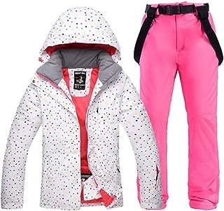 Traje de esquí,Colorido Conjunto de Traje de Nieve para Mujer Ropa de Snowboard para Mujer Invierno Deportes al Aire Libre Chaquetas de esquí Impermeables Pantalones de cinturón de Nieve