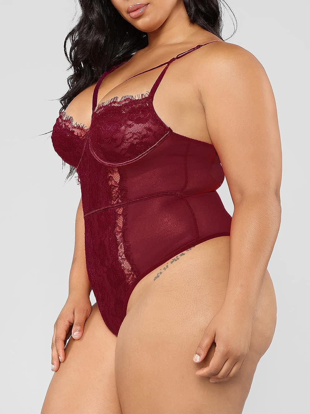 Kaei&Shi Plus Size Lingerie for Women,Sheer Lace Sexy V Neck Bodysuit,Eyelash One Piece Floral Teddy Valentine
