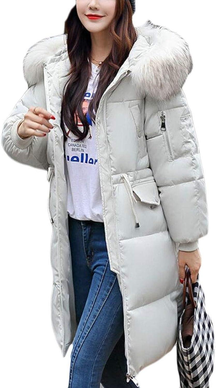 WSPLYSPJY Women Winter Jacket Warm Faux Fur Hooded Thick Long Down Jacket Coat