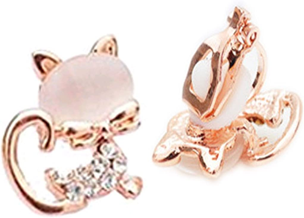 CNCbetter Women Fashion Jewelry Rose gold plated Cat Eye Stone Charms U Shaped Black On Clip Earring