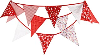 FirstKitchen Extra Large Bunting 3.7M/12 Feet Flag Banner Pennant Garland Fabric Triangle Flags Double Sided Vintage Cloth Shabby Chic Decoration for Wedding Birthday Party Bedrooms (Red)