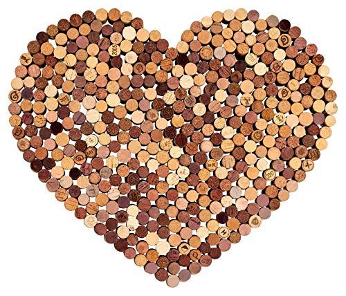 Kork Pinnwand | Herz aus gebrauchten Weinkorken | 60x40cm | als Wanddeko Memoboard | ideal für Küche Esszimmer Flur und Wohnzimmer