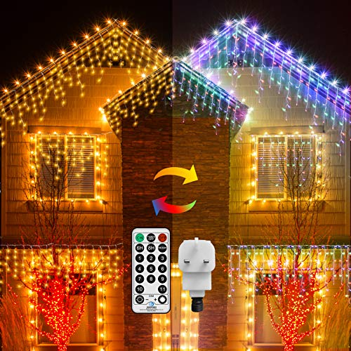 Outdoor Icicle Light Plug in 10M 300 LED Window Curtain Light Outside String Light Mains Powered Warm White & Multi-Color Fairy Light for Patio Yard Christmas Party Decor