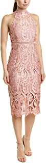 Bardot Womens Lace Halter Midi Dress, Vintage Rose 10