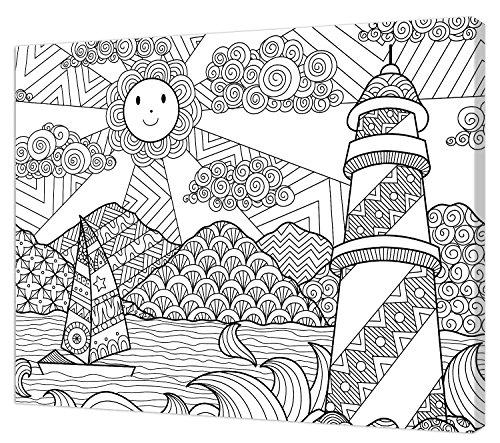 Pintcolor 7810.0 châssis avec Toile imprimée à colorier, Bois de Sapin, Blanc/Noir, 40 x 50 x 3,5 cm