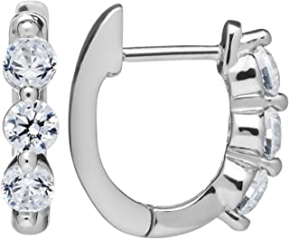 14K Solid White or Yellow Gold Earrings   Round Cut Huggie Hoop 3-Stone Cubic Zirconia   .48 CTW   With Gift Box