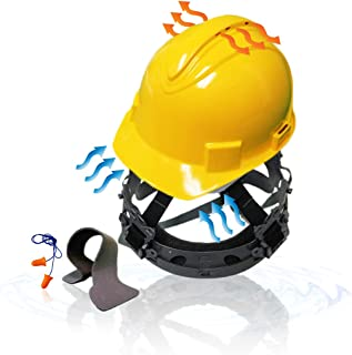 KwikSafety (Charlotte, NC) TURTLE SHELL (10 Vents FREE Extra Sweatband Earplugs) Standard Cap Style (One Size FITS MOST) ANSI Hard Hat Construction Safety Helmet OSHA Lightweight Type 1 Class C Yellow