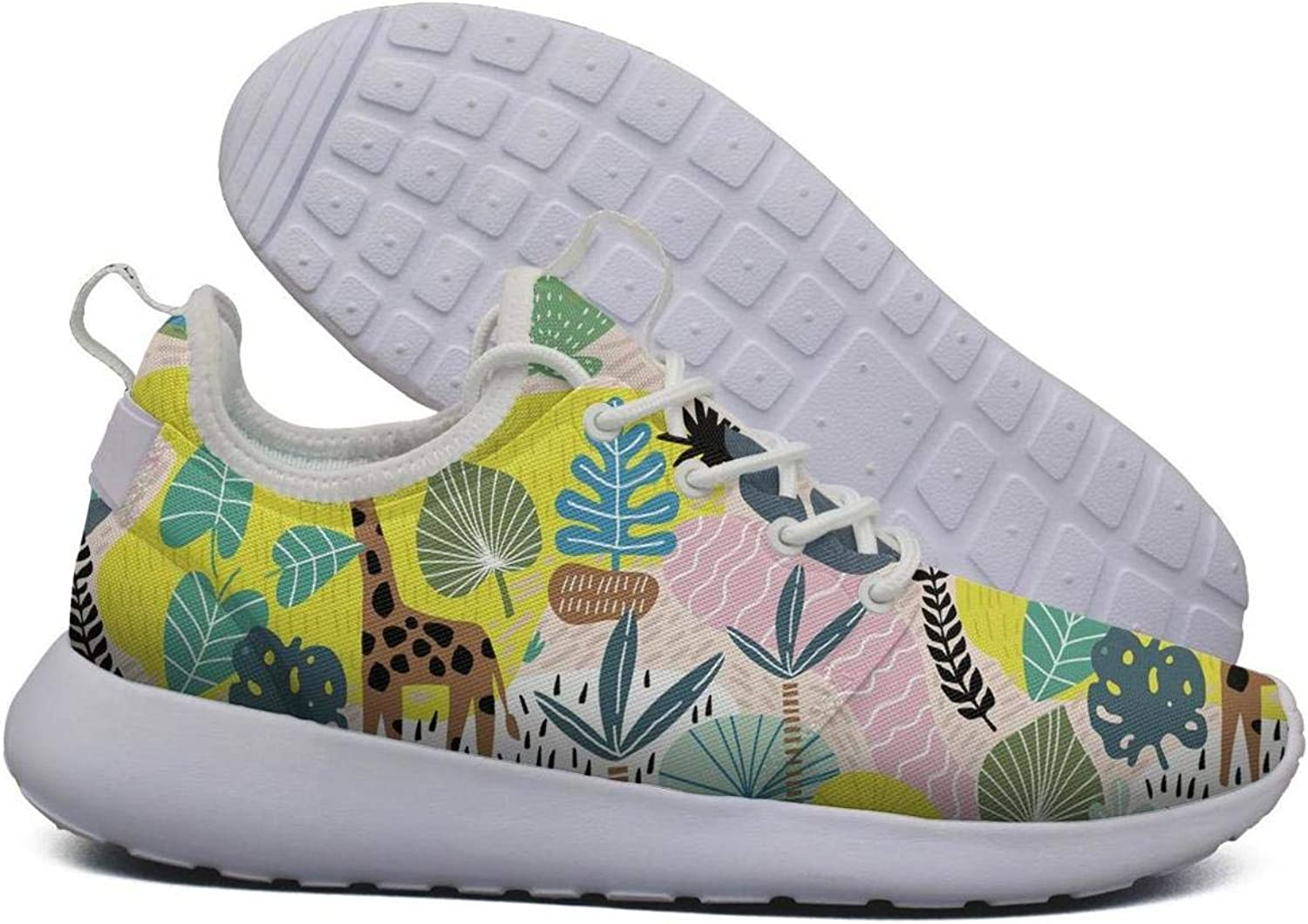 Hoohle Sports Womens colorful Giraffe Zebra Toucan Flex Mesh Roshe 2 Lightweight Casual Road Running shoes
