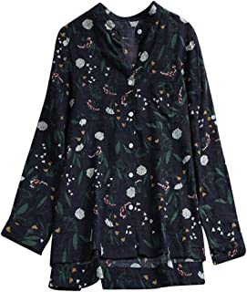 188566cfe47 JOFOW Women's Blouse Cotton Linen 3/4 Long Sleeve Floral Print O Neck Loose  Tops