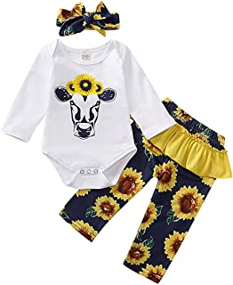 Newborn Baby Girl Toddler Outfits with White Cow Sunflower 3pcs Long Sleeve Romper + Pants + Bow Headband