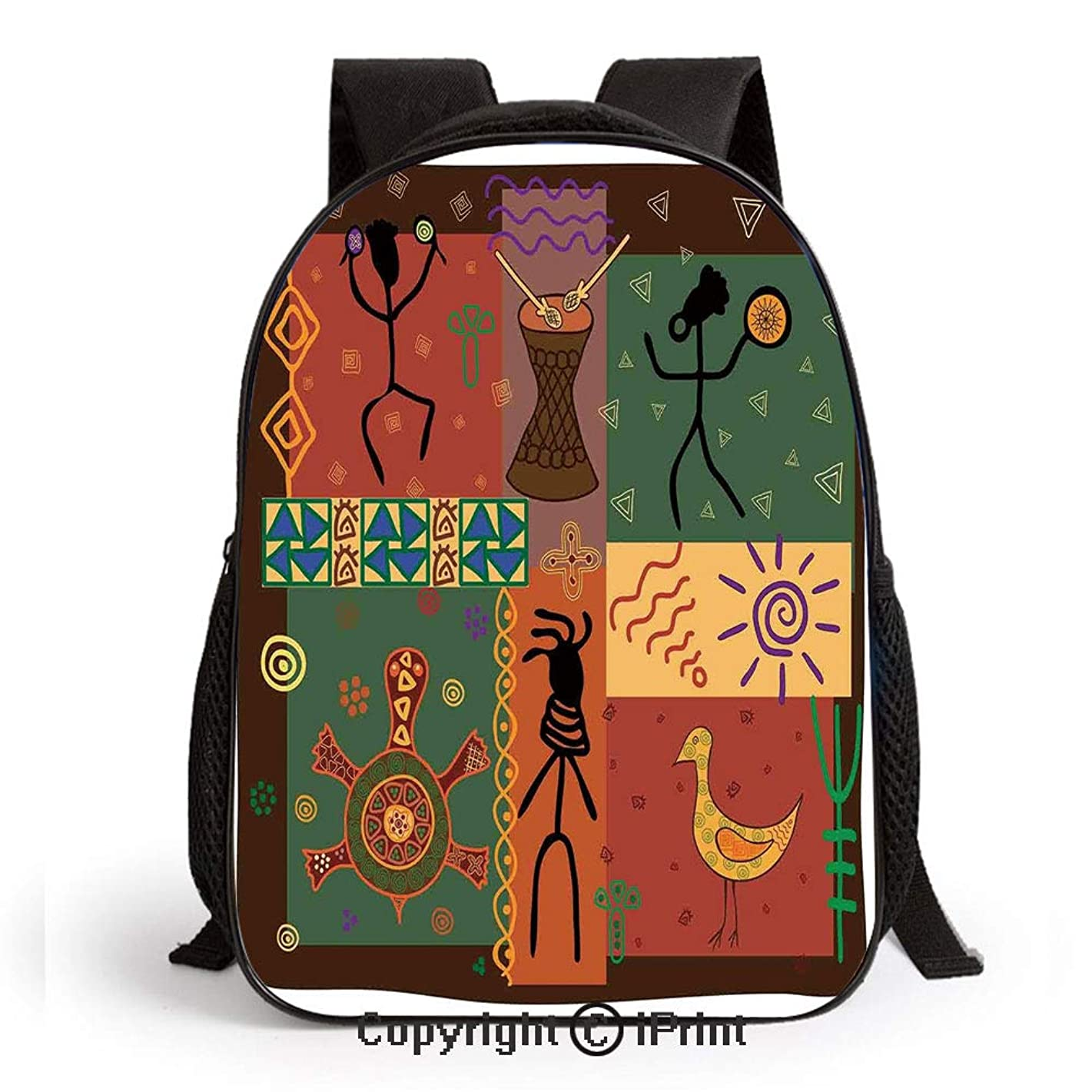Funky Tribal Pattern Depicting African Style Dance Moves Instruments Spiritual Printed Kids School Backpack Cool Children Bookbag,Multicolor