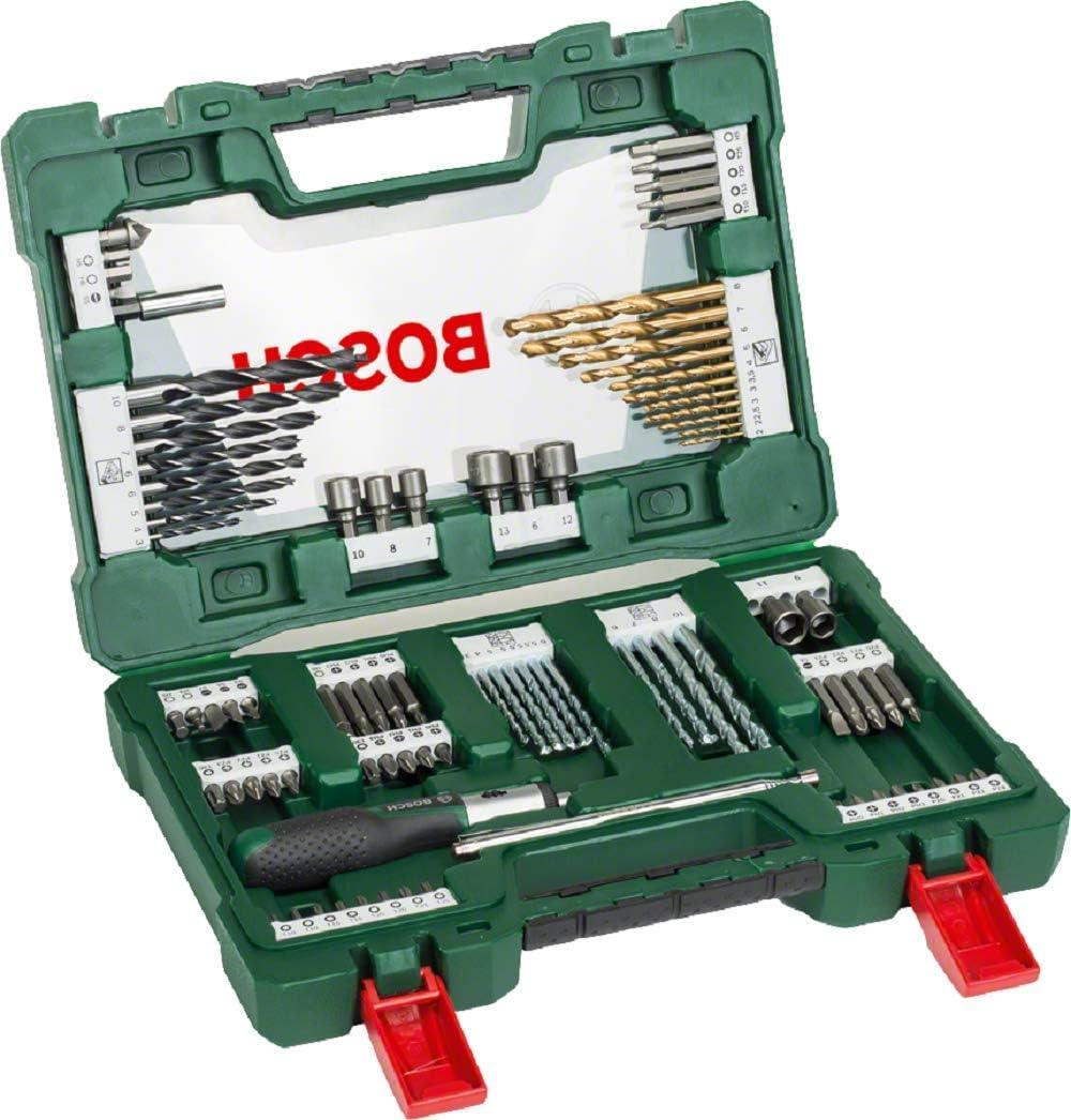 Bosch 91-Piece V-Line Titanium Drill Bit and Screwdriver Bit Set with Ratcheting...