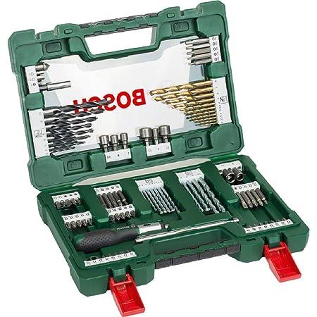 Bosch 91pièces Jeu de forets et d'embouts en titane V-Line (pour le bois, la pierre et le métal, y compris tournevis à cliquet et tige magnétique, accessoires outils de perçage et de vissage)
