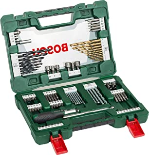 Bosch 91-Piece V-Line Titanium Drill Bit and Screwdriver Bit Set with Ratcheting Screwdriver (For Wood, Masonry, and Metal)